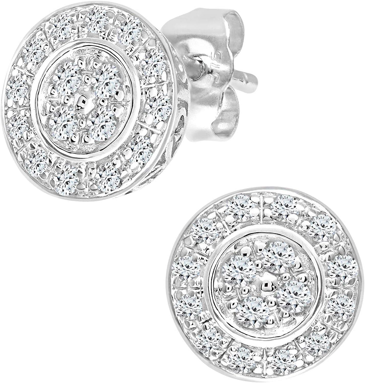 Naava Pendientes para Mujer de Oro Blanco 9K con 32 Diamantes