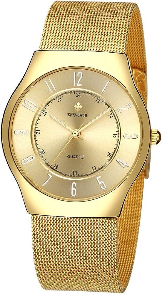 Wwoor Casual Men s Analog Quartz Watches Women Slim Stainless Steel Mesh Strap Luxury Dress Watch