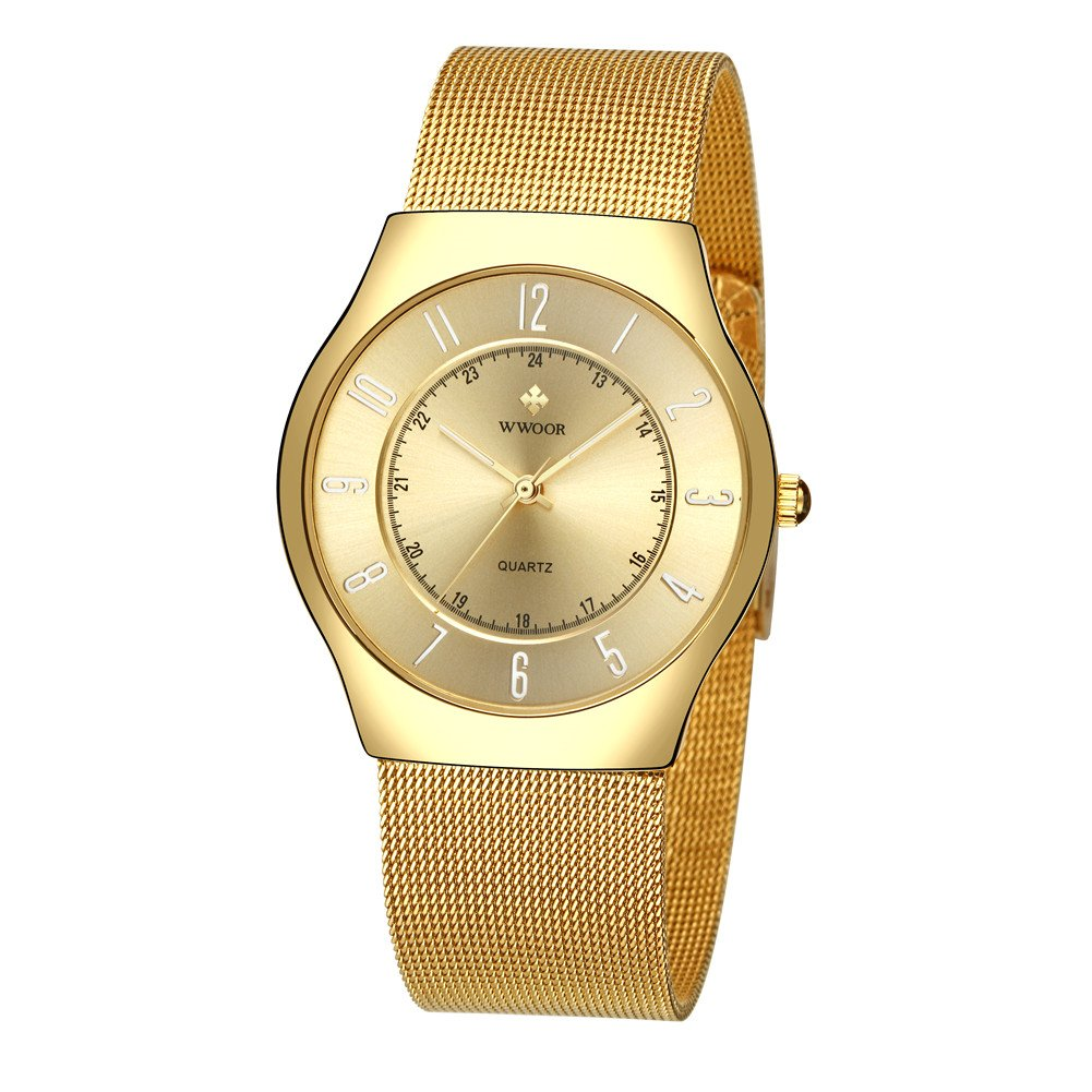 Wwoor Casual Men s Analog Quartz Watches Women Slim Stainless Steel Mesh Strap Luxury Dress Watch