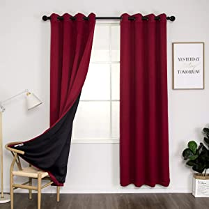 Thermal 100% Blackout Grommet Curtain for Room,Double-Layer Multi-Function Noise Reducing Performance Drapes with Black Lining, Full Light Blocking Drapery Panels,1 pair,52