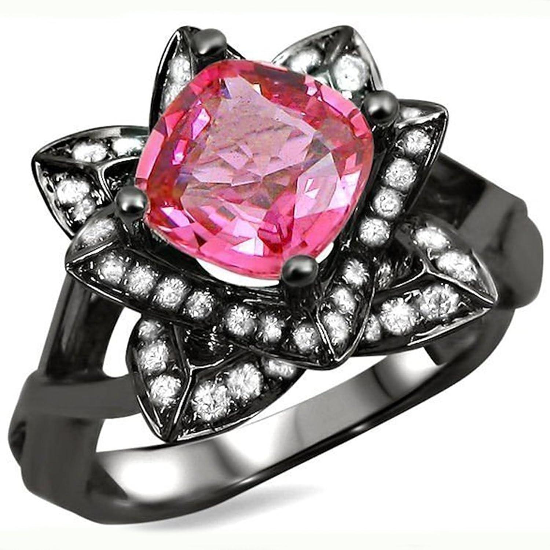 Amazon.com: Smjewels 1.70 Ct Cushion Cut Pink Sapphire Sim.Diamond ...