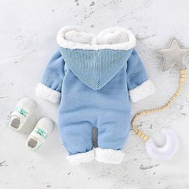 Hinzonek Baby Gestrickt Fleece Gef/üttert Schneeanzug Baby Jungen M/ädchen Winter Warme Strampler Overall Weihnachtskleidung