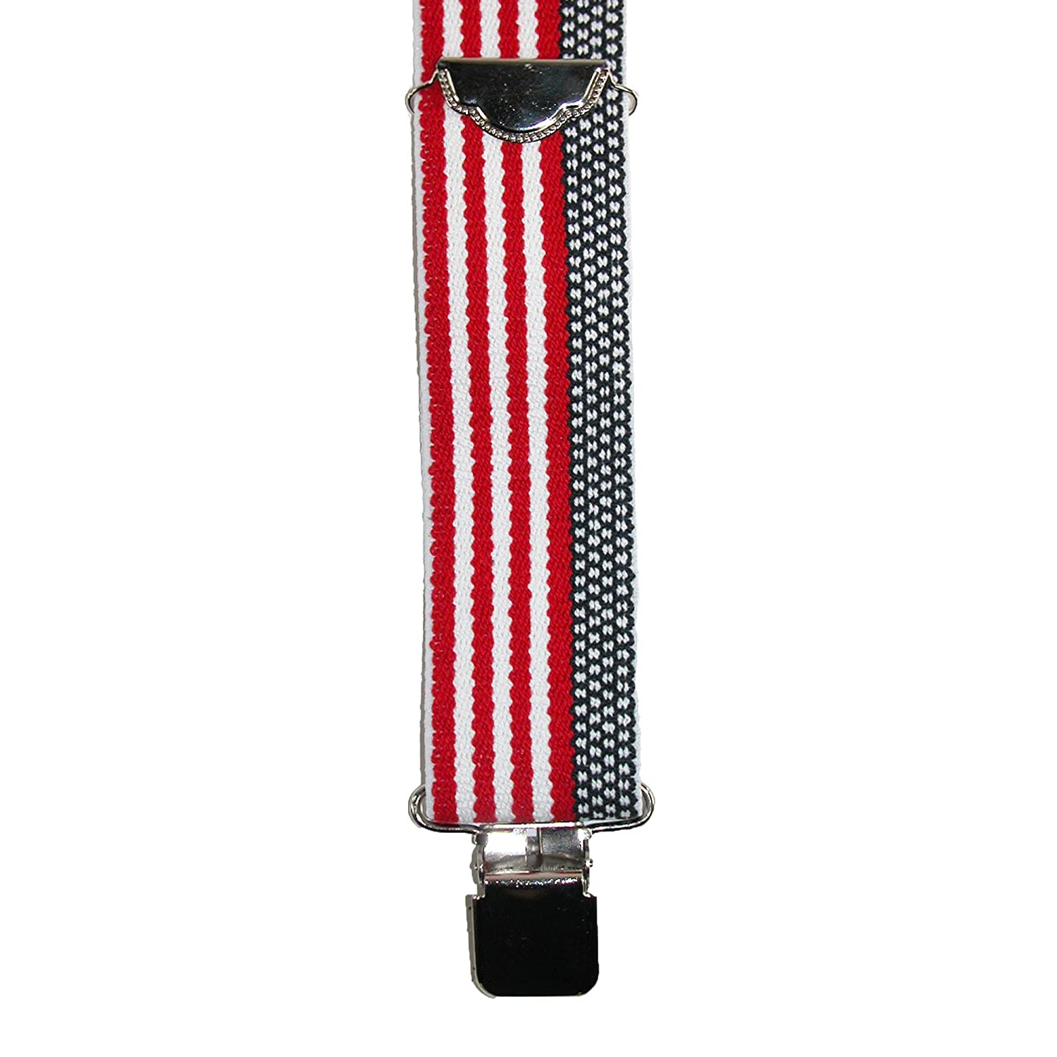 Welch Mens Elastic American Flag Clip End Suspenders Tall Available