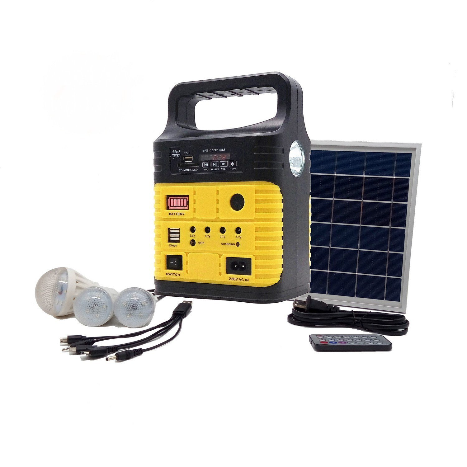 Portable Solar Generator with Solar Panel,Included 3 Sets LED lights,Solar Power Inverter,Electric Generator,Small Basic Portable Generator Kit,Solar Lights for Home & Camping,Power for Solar Fans by Wegner