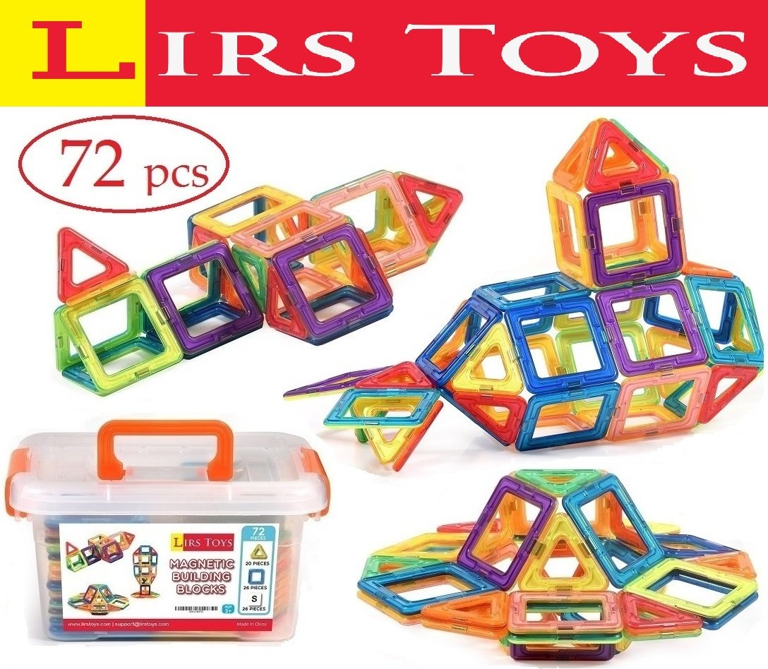 Magnetic Building Blocks Toy - 72 pcs Set of Fun, Creative, Educational 3D Construction. Plastic Tiles for Kids Age 3+ with Carry Case and Alphabet Squares. For Boys and Girls by Lirs TOYS Review