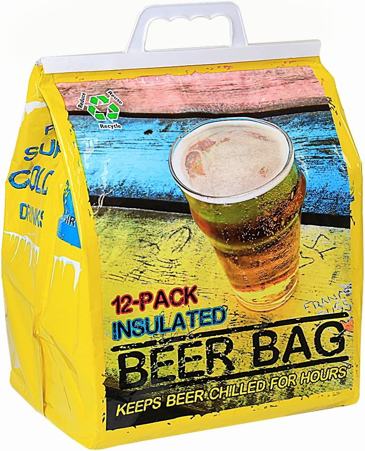 Jay Bags Beer 12 Pack Reusable Insulated Drink Bag, Yellow