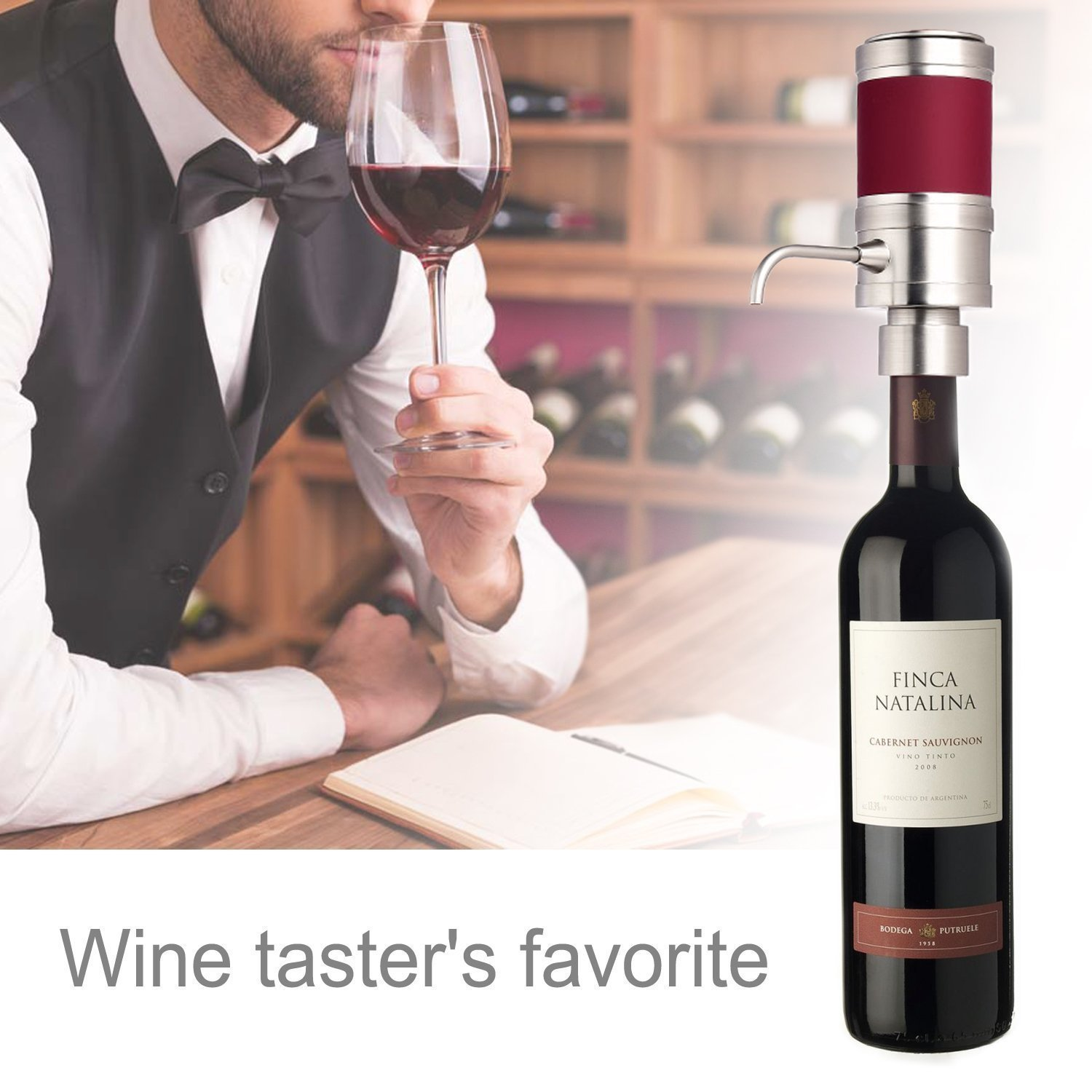 Electric Wine Aerator Dispenser Pump - Portable and Automatic Bottle Breather Tap Machine - Air Decanter Diffuser System for Red and White Wine w/ Unique Metal Pourer Spout - NutriChef PSLWPMP50