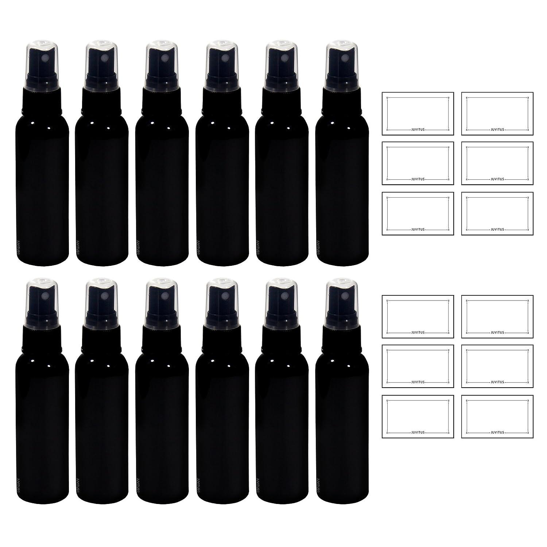 Negro 2 oz Slim Cosmo - Round PET (sin BPA) botella de ...