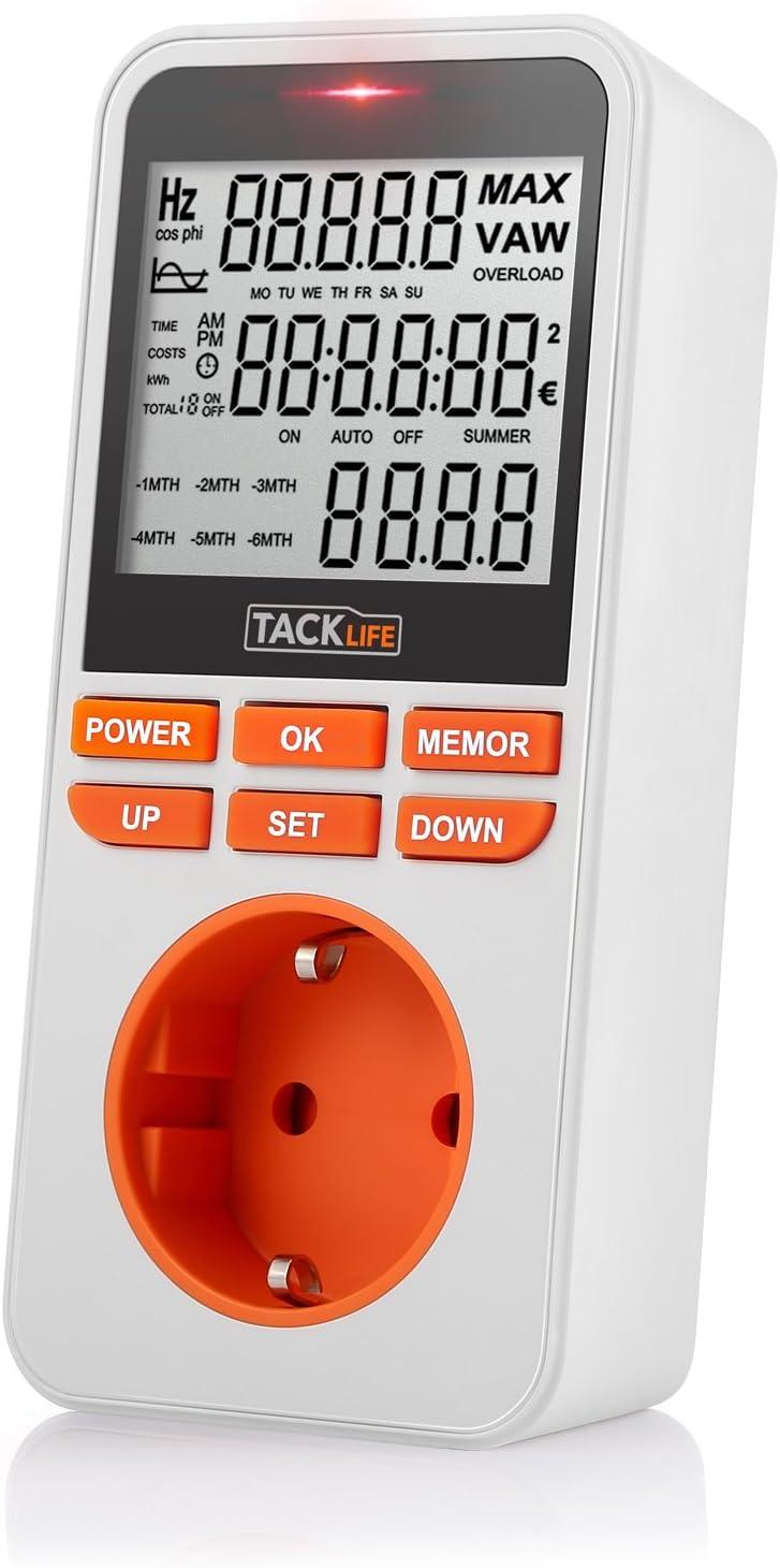 Consumo de energía, Tacklife-MPM02-Medidor de energía, temporizador programador digital de MAX 3680W /16A, Registre 6 meses de datos: Amazon.es: Bricolaje y herramientas