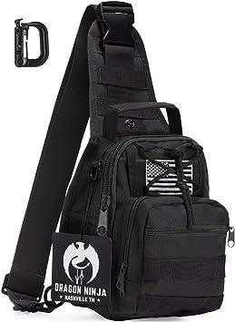 Dragón Ninja mejor Tactical Sling Bag mochila Militar deporte mochila para hombres y mujeres con Tactical parche: Amazon.es: Deportes y aire libre