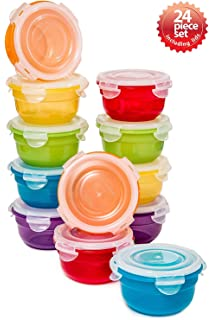 Lock U0026 Lock 24pc Set Plastic Food Storage Mini Bowl 250ml/8 Oz Assorted  Container