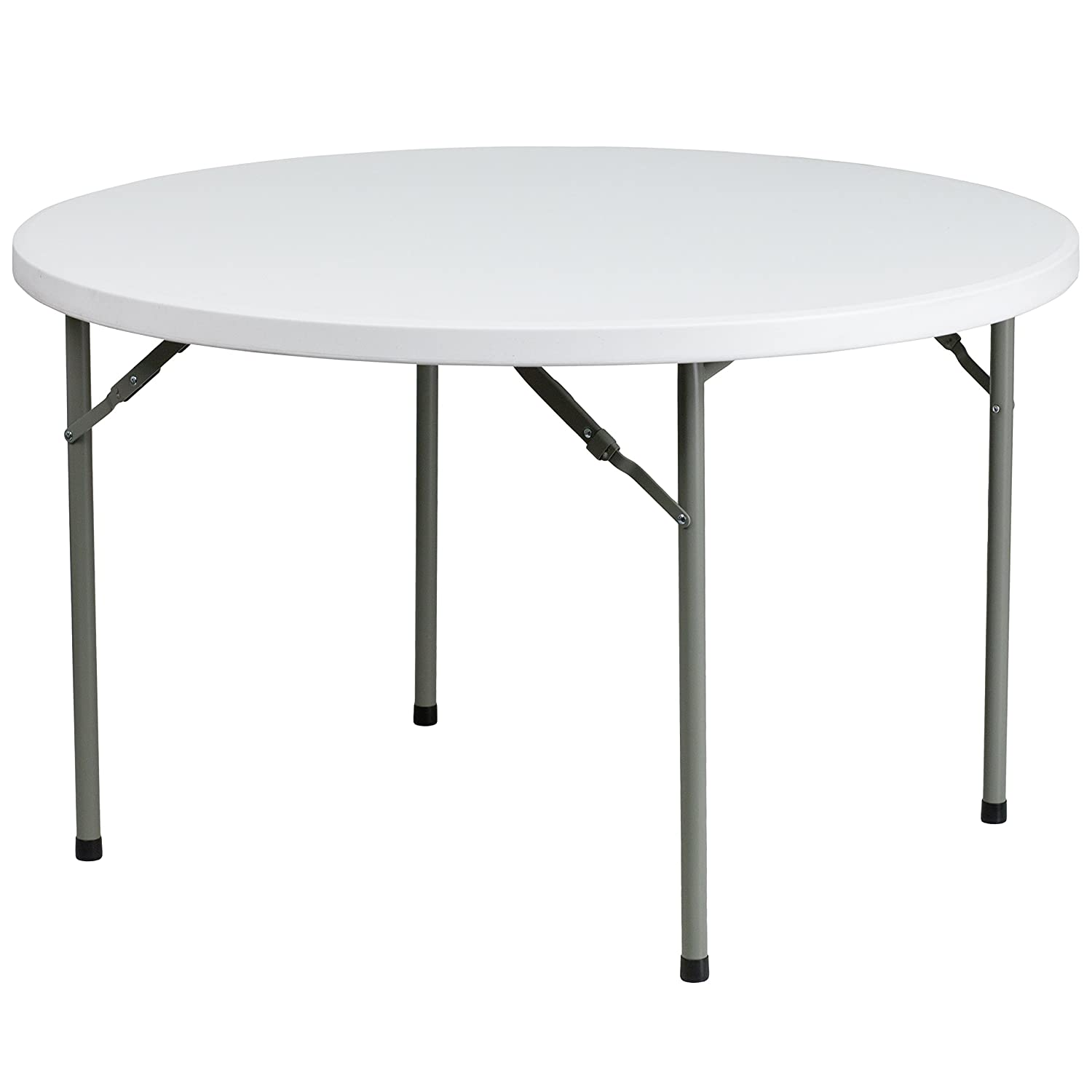 Flash Furniture 4-Foot Round Granite White Plastic Folding Table