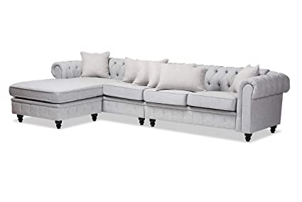 Amazon.com: Baxton Studio 151-8209-AMZ Sectional Sofas Gray ...