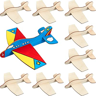 8 Packs Wooden Model Airplane Wood Glider Planes DIY Flying Glider Toy Plane for Birthday Carnival Party: Toys & Games