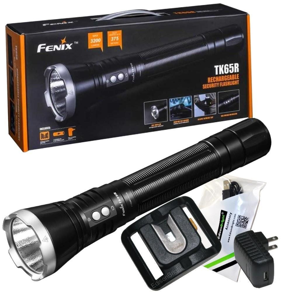 FENIX TK65R USB Rechargeable 3200 Lumen Cree LED Police Flashlight with, 5000mAh rechargeable battery, Belt clip and EdisonBright USB charging cable bundle