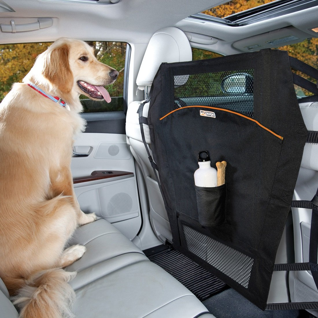 Kurgo Back Seat Dog Barrier for Cars & Suv | Automotive Pet Barrier | Backseat Barrier for Dogs | Reduce Distractions while Driving | Mesh Opening | Easy Installation | Storage Pockets | Universal Fit