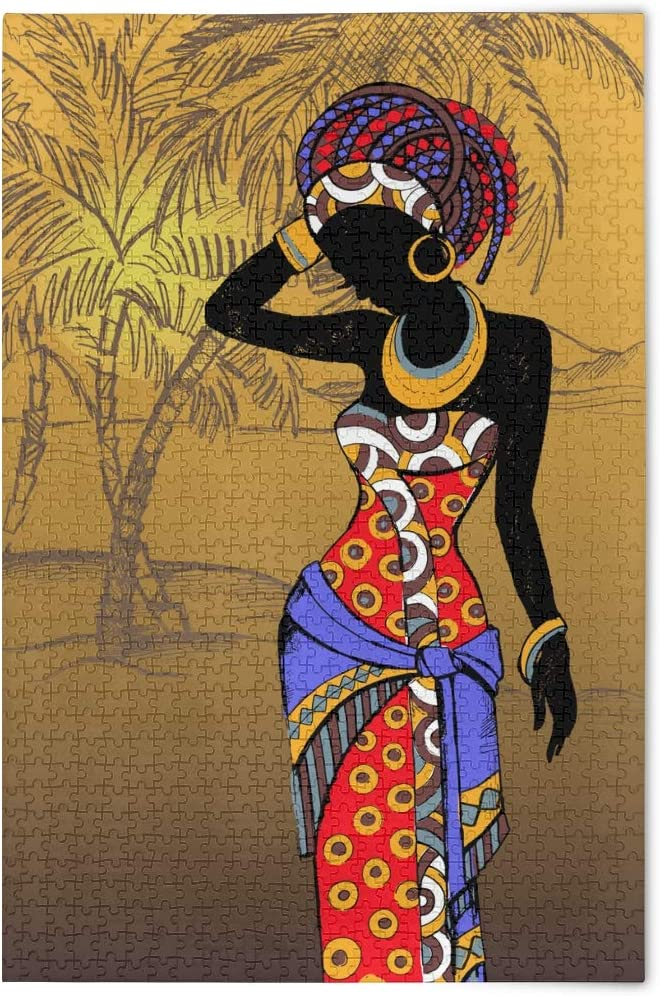Jigsaw Puzzles for Adults 500 Pieces African American Pretty Girl Puzzle Fun Family Game Black Women Oil Painting Kids Toy Educational Intellectual Decompressing 2063258
