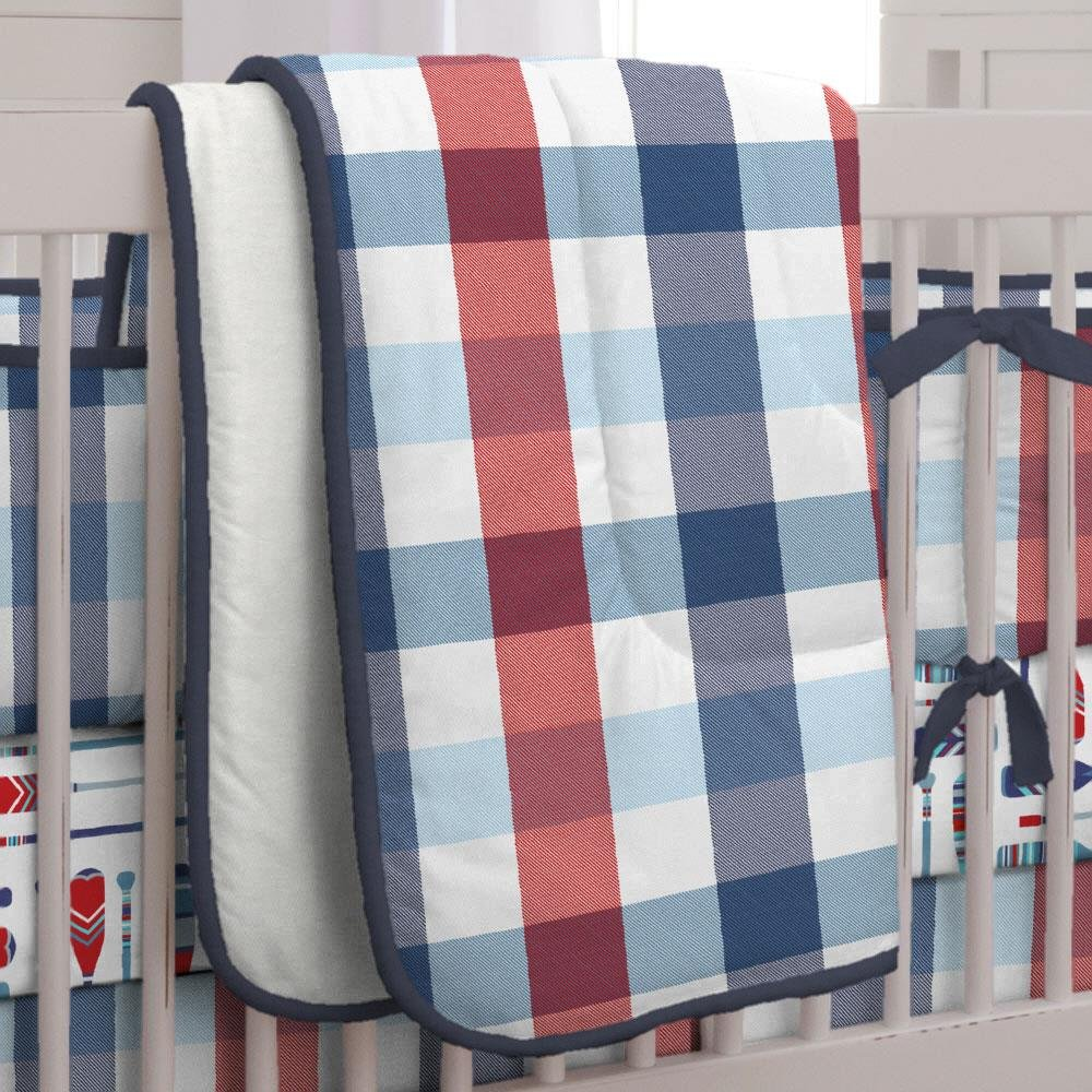 Carousel Designs Navy and Red Buffalo Check Crib Comforter