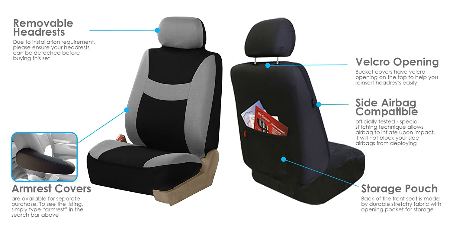 FH Group FB030115-SEAT Light /& Breezy Burgundy//Black Cloth Seat Cover Set Airbag /& Split Ready- Fit Most Car SUV Truck or Van