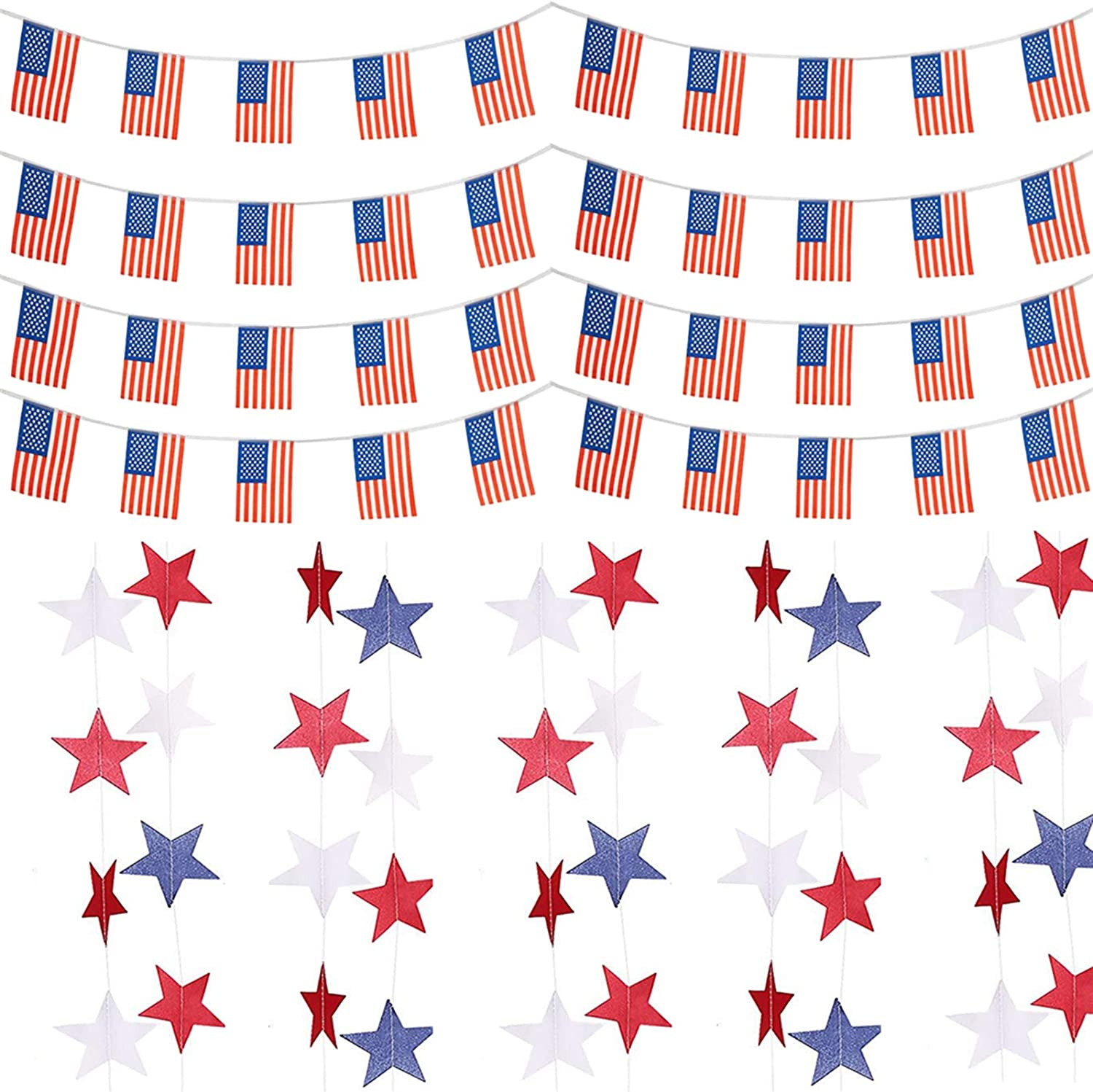 SEKAM 4th of July Patriotic Decorations Set - American Flag Banner (40 PCS) & Patriotic Star Streamer Garland (36 PCS), USA American Flag Decor, Patriotic Outdoor Decorations for Indepedence Day