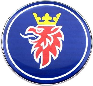 Eu Decals 63 5 Mm Blaues Griffin Saab Chrom Emblem Für Motorhaube Und Kofferraum Gewölbter 3d Aufkleber Selbstklebende Rückseite 9 3 Auto