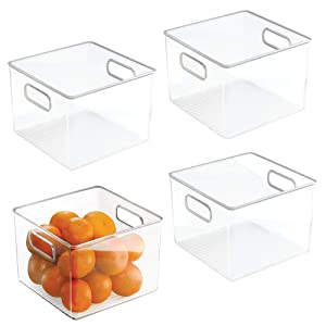 "InterDesign Plastic Fridge and Pantry Storage Bins, Organizer Container for Kitchen, Bathroom, Office, Craft Room, BPA-Free, 8"" x 8"" x 6"", Set of 4, Clear"