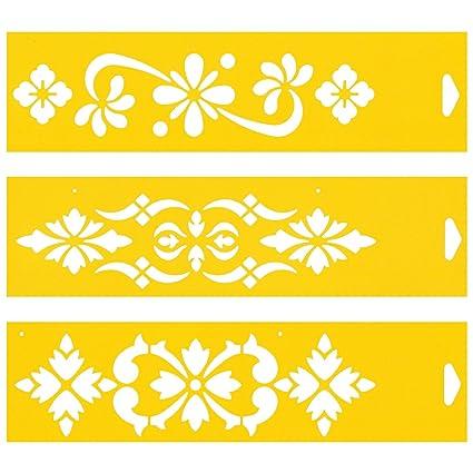 30cm x 8cm (Juego de 3) Stencil Plantilla Plástico Reutilizable para Decoración Pasteles Paredes