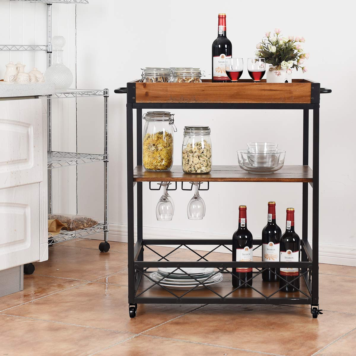 Giantex Kitchen Trolley Cart Island Rolling Serving Carts Utility Cart 3 Tier Storage Shelf with Glass Holde, Handle Racks, Lockable Caster Wheels Kitchen Carts Islands w/Removable Wood Box Container by Giantex (Image #3)