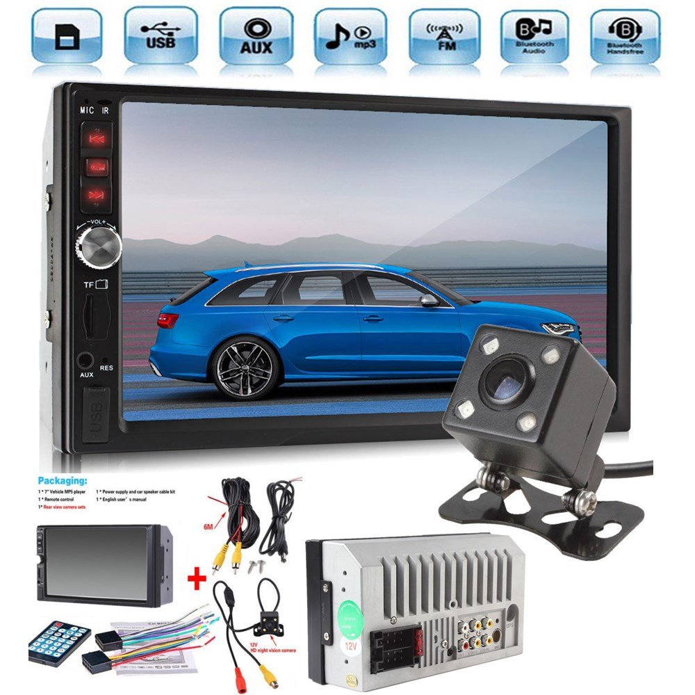 Car Rear View Camera + Cavogin 7'' inch Double Din Touchscreen In Dash Stereo Car Receiver Audio Video Player Bluetooth FM Radio Mp3 MP5/TF/USB/AUX + Remote Control