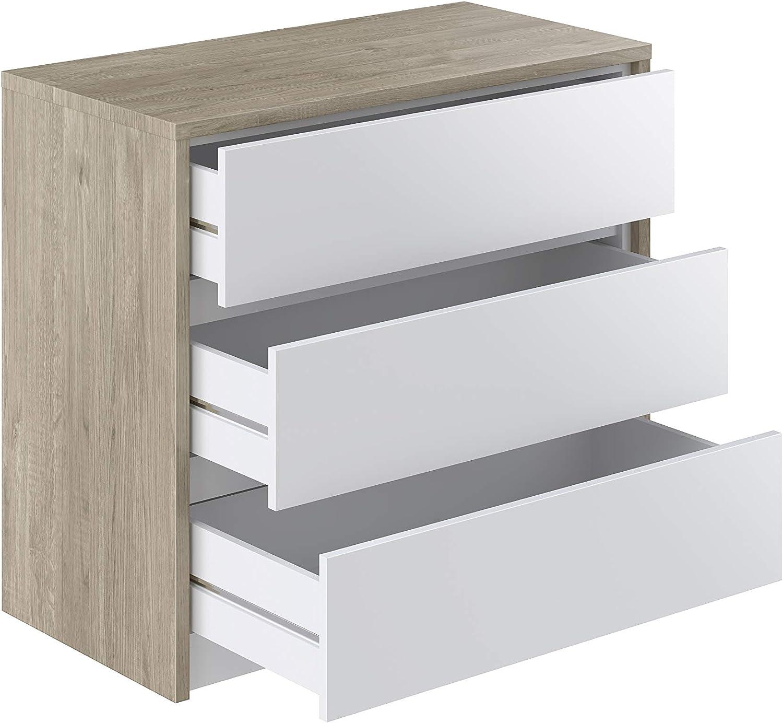 Effet Ch/êne Commode 3/tiroirs avec plateau extensible Belaya Modern 44 x 83 x 76 Movian