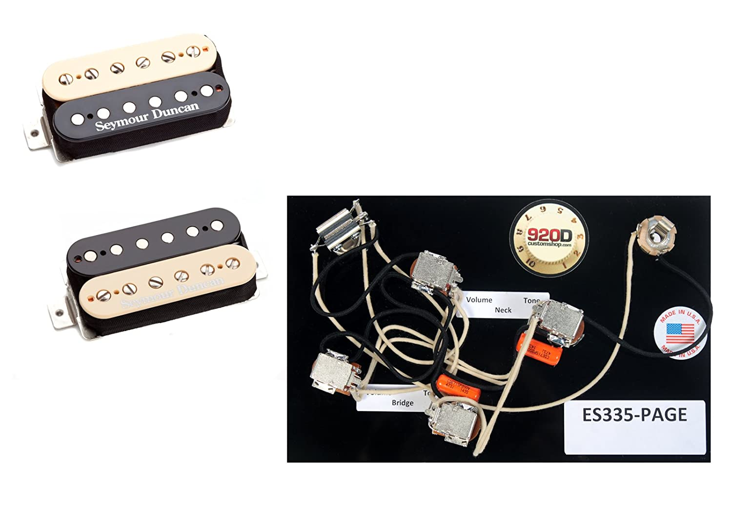 duncan hot rodded humbucker pickup set, zebra + es-335 page wiring harness:  amazon ca: musical instruments, stage & studio