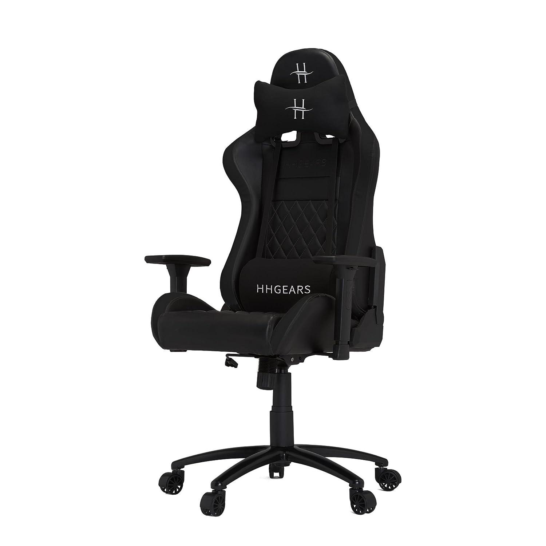 HHGears XL 500 Series PC Gaming Racing Chair Black with Headrest/Lumbar Pillows