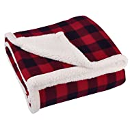 """Terrania Buffalo Plaid Sherpa Throw TV Blanket 50"""" x 60"""" Super Soft Reversible Fleece Blanket for Cabin Bed or Couch 