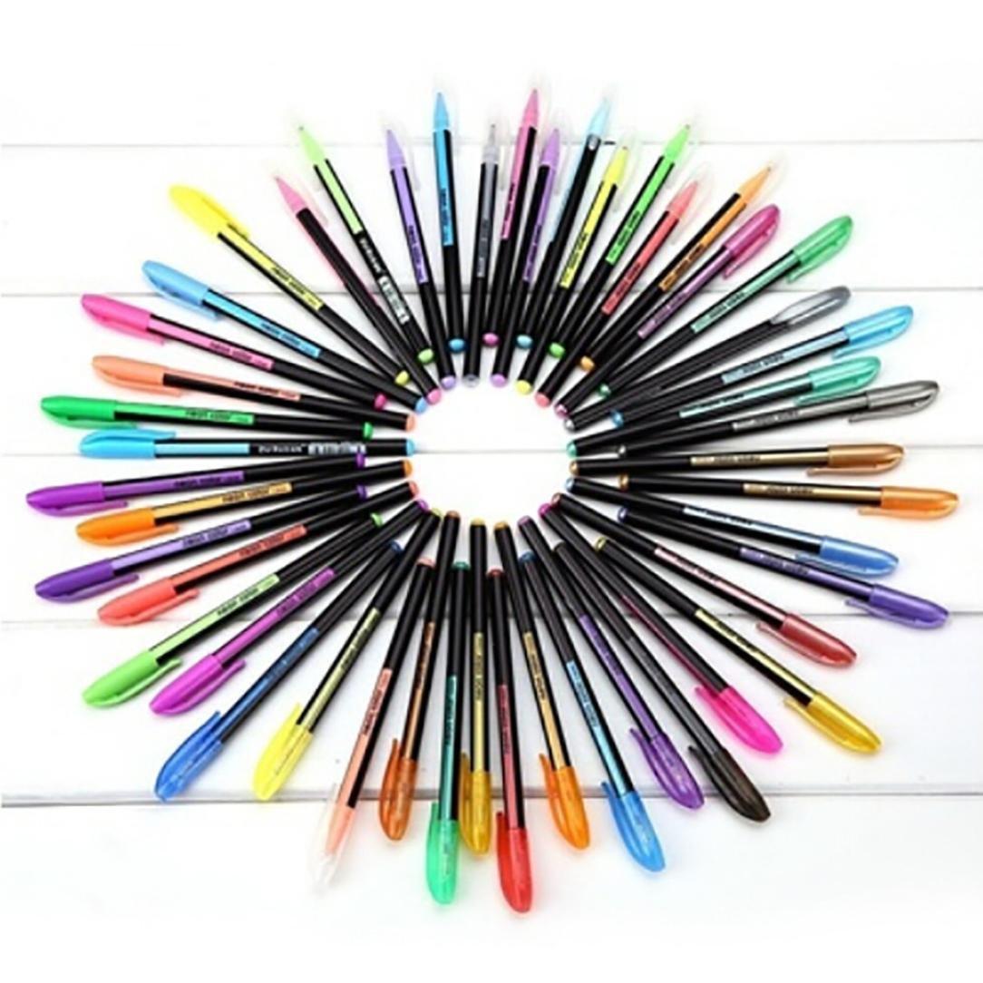 SUKEQ 48pcs Coloring Gel Refills Set, Glitter Metallic Pastel Fluorescence Neon Pen Ink Refills with Diamond Tip for Adult Coloring Books, Scrapbooking, Drawing, Dooling