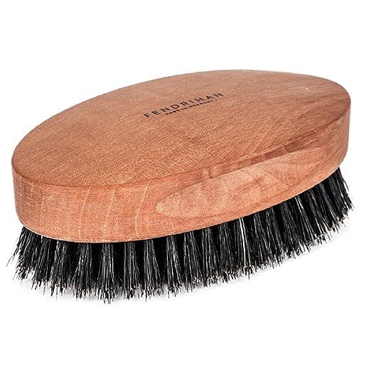 Fendrihan Genuine Boar Bristle and Pear Wood Military Hair Brush, Made in Germany MEDIUM-STIFF BRISTLE