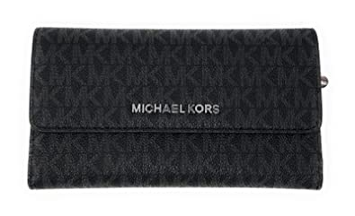 d19a47cb9325e1 Michael Kors Jet Set Travel Large Trifold Leather Wallet (Black PVC 2018)