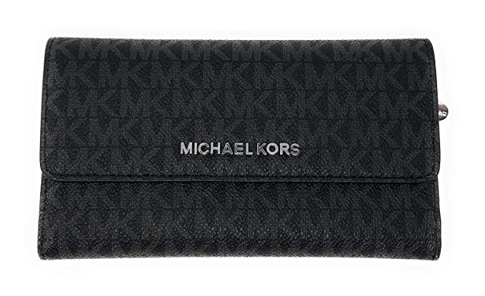 aadae5e04d86 Image Unavailable. Image not available for. Color  Michael Kors Jet Set  Travel Large Trifold Leather Wallet (Black ...