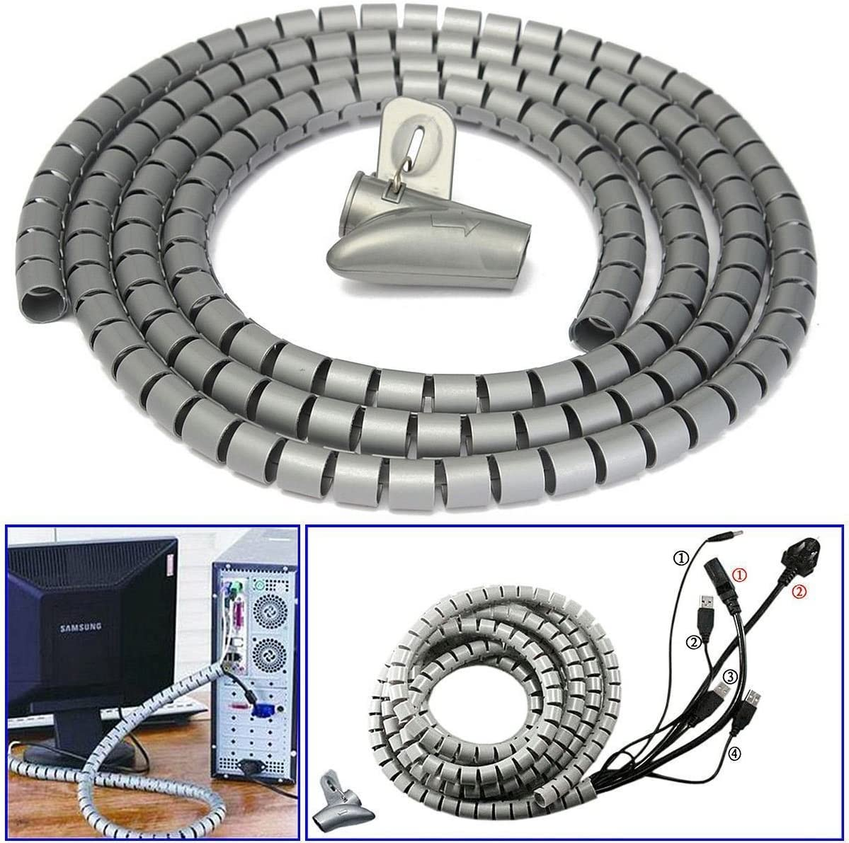 2m 10//22mm Cable Spiral Wrap Tidy Cord Wire Banding Storage Organizer Tool Home