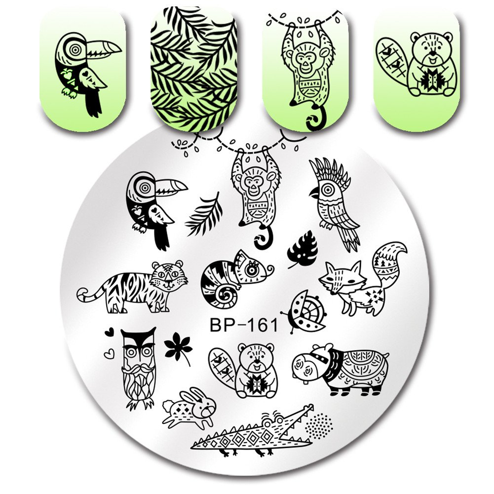 BORN PRETTY Nail Art Round Stamping Plate Unicorn Flamingo Ice Cream Manicure DIY Print Image Plate BP-164