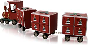 "Christmas and Advent Wooden Train Calendar with 24 Drawers - Advent Calendar for Kids and Adults - Christmas Decorations - 18"" x 4"" x 6"""