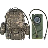 Tactical Military MOLLE Backpack Bundle with 2.5L Hydration Water Bladder & 3 Molle Bags By MonkeyPaks
