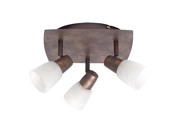 Brilliant 17834/56 Milos - Lámpara de techo (3 bombillas E14 de 40 W máx. no incluidas), color champán y cobre