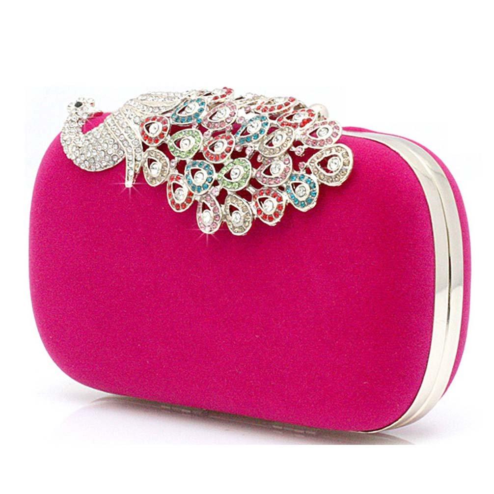 Pfau Kristall Diamant funkeln Abendtaschen Hart Schachtel Unterarmtasche Clutch Handtasche (Schwarz) Kaxidy I1rxkUnAtm
