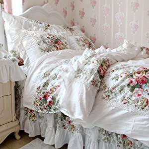 FADFAY Farmhouse Bedding Elegant and Shabby Vintage Rose Floral Duvet Cover Bedskirt Lovely White Lace and Ruffle Style Exquisite Craft 100% Cotton Hypoallergenic,King Size 4-Pieces