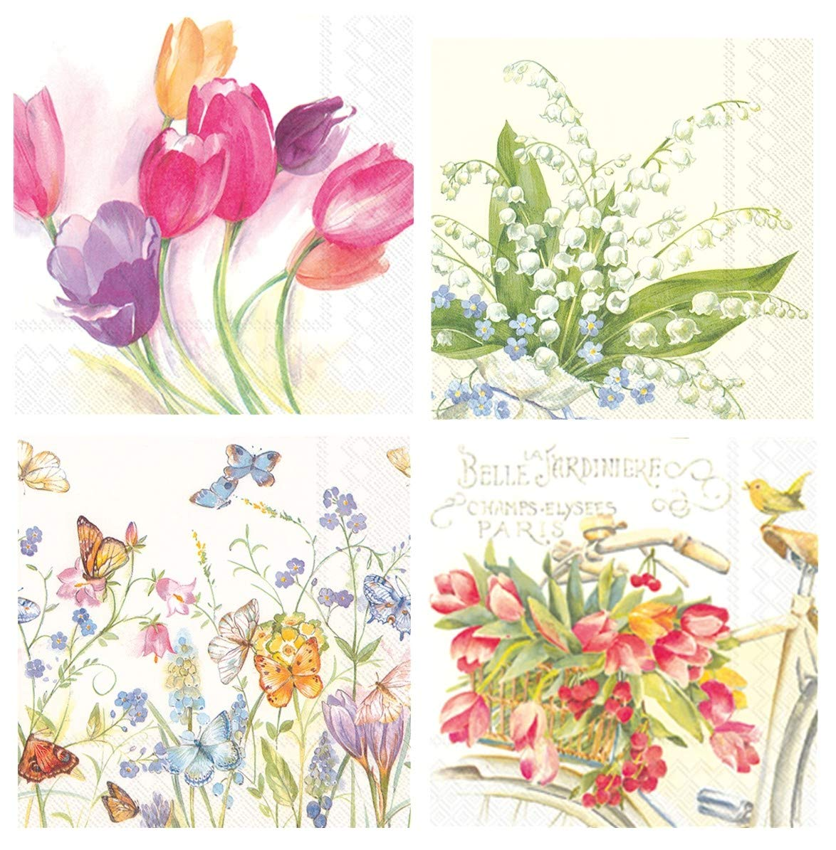 Boston International 20 Count 3-Ply Paper Floral Cocktail Napkins, Set of 4, Tulips, Lily of the Valley, Butterflies