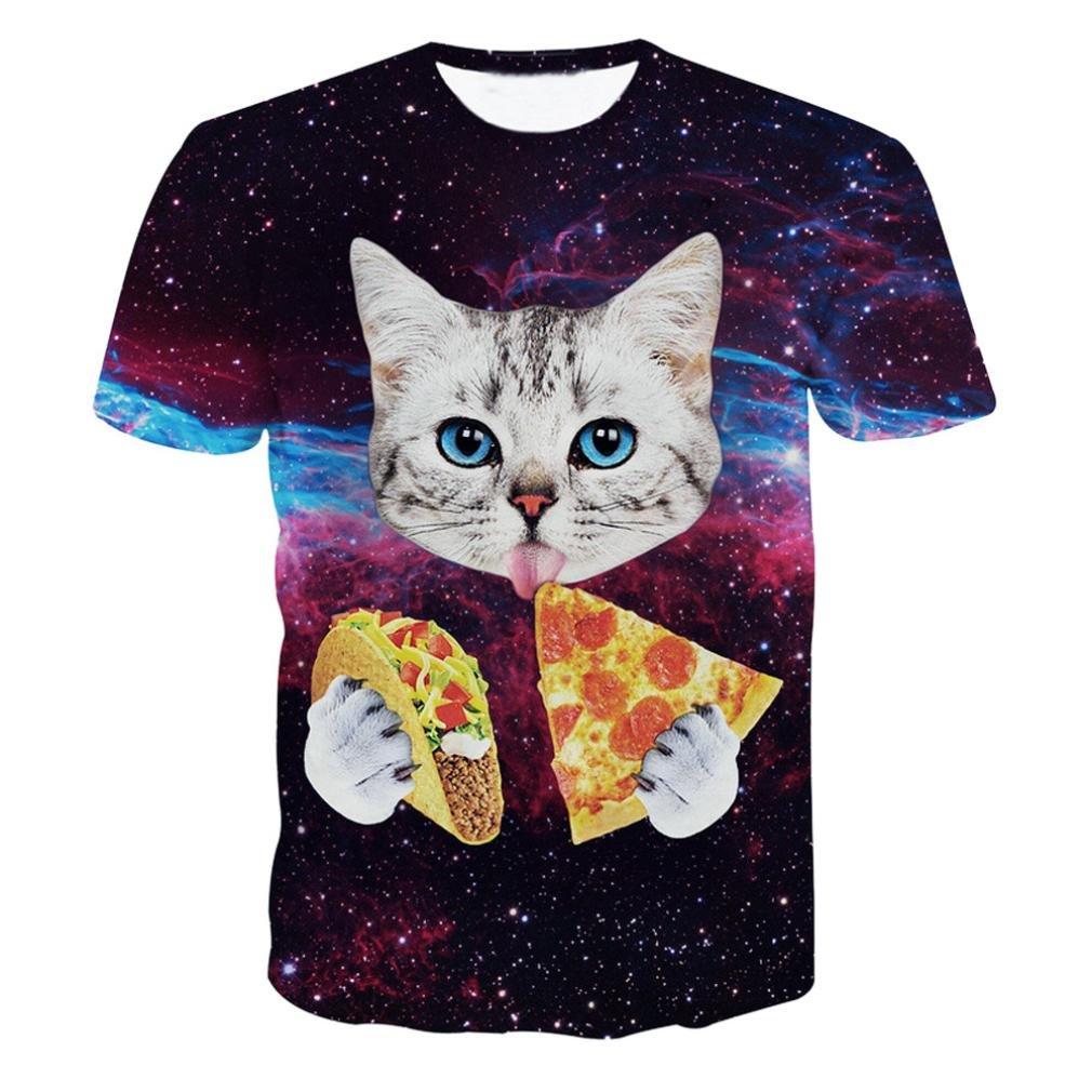 Sumen Men Boys 3D Print Summer Short Sleeve Tops Kitty Sky Funny T Shirts S-2XL