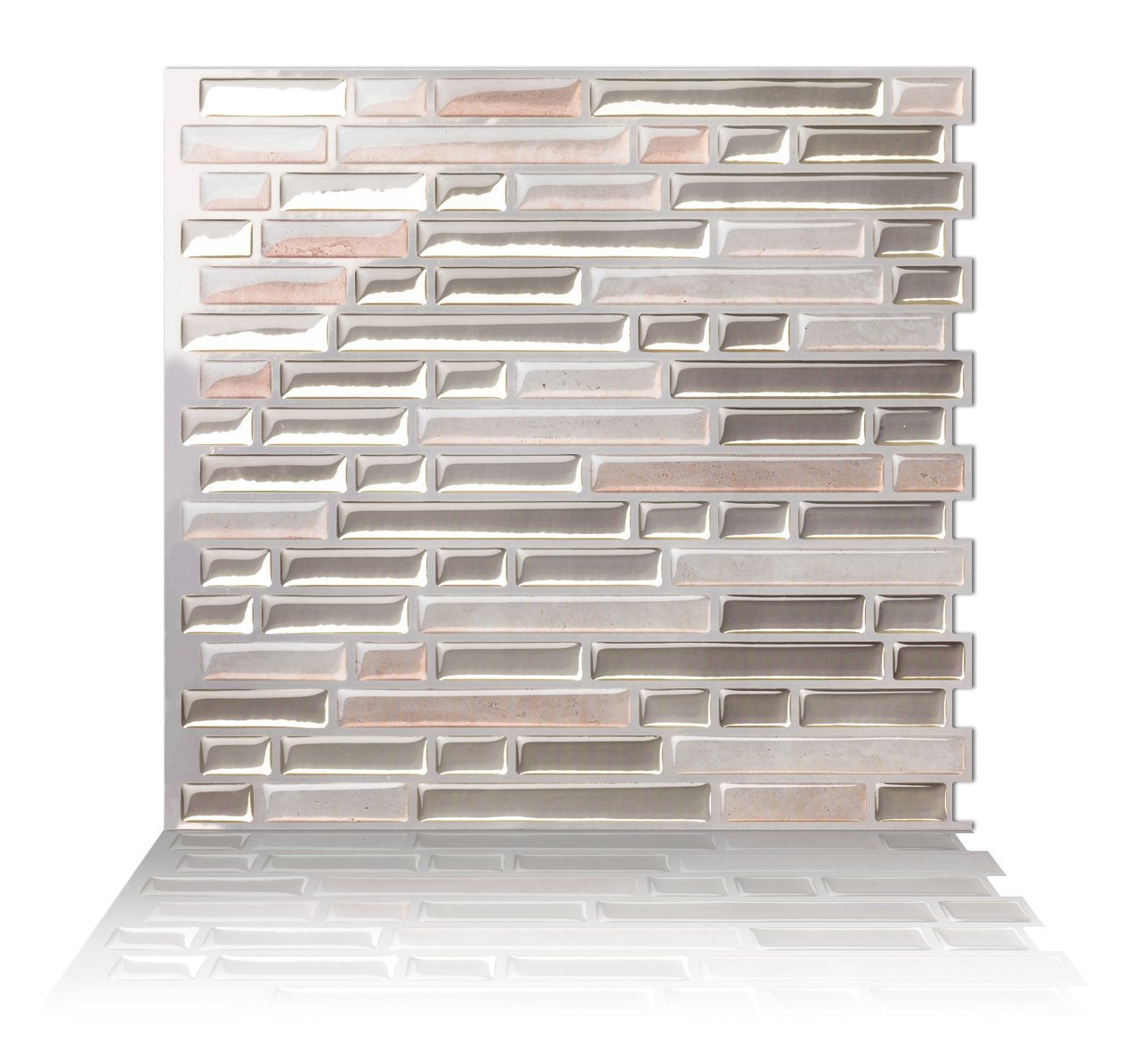 Tic Tac Tile Mosaic Peel and Stick Wall Tile in Random Brick Metal Sand (1 Tile) Tic Tac Tiles AH-BRS02