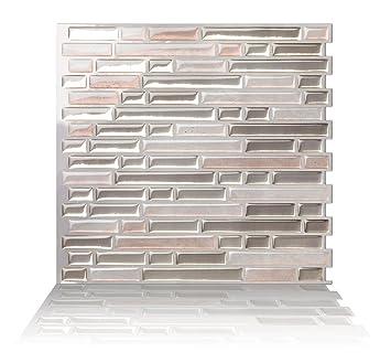 Tic Tac Fliesen Backsplash Anti Schimmel, Lumière Métallique Beige; Texture  Beige Clair,