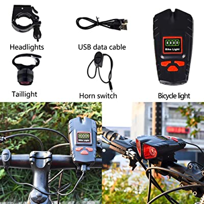 USB Rechargeable LED Bicycle MTB Head Light W//Horn Front Night Lamp Cycling USA