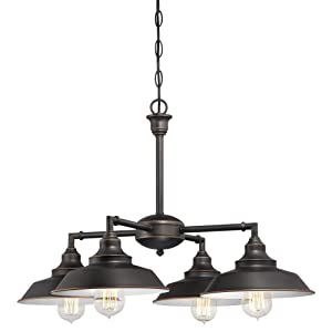 Westinghouse Lighting Westinghouse 6343300 Iron Hill Four-Light Indoor Convertible Chandelier/Semi-Flush Ceiling Fixture, Oil Rubbed Bronze Finish with Highlights and Metal Shades White